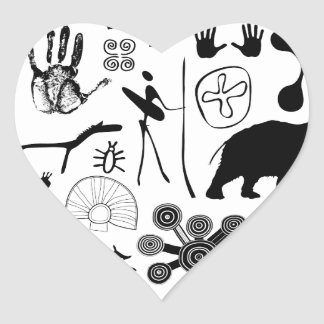 cave paintings - primitive art heart sticker