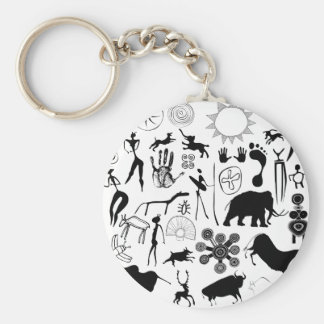 cave paintings - primitive art keychain
