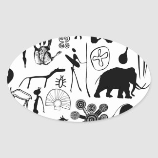 cave paintings - primitive art oval sticker