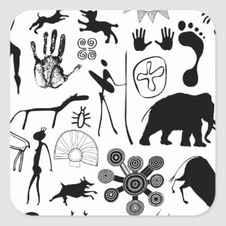 cave paintings - primitive art square sticker