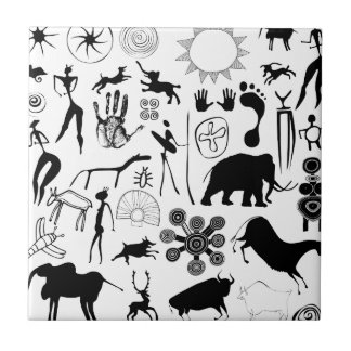 cave paintings - primitive art tile