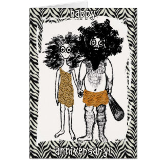 Cave People in Love Card