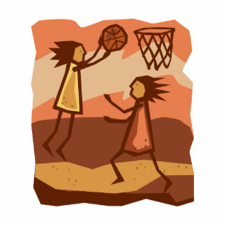 Cave People Playing Basketball Acrylic Cut Out