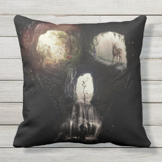 Cave Skull Outdoor Pillow