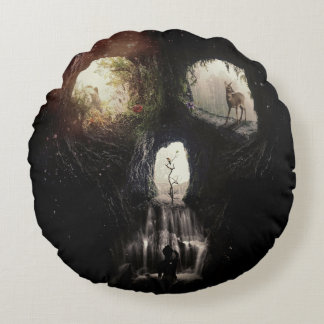 Cave Skull Round Pillow