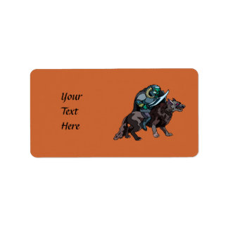 Cave Troll With Sword Riding Wolf Dog Label
