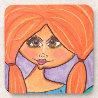 Cave Woman Coasters - Orange