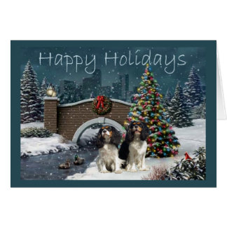 Cavelier King Charles Spaniel Christmas Evening2 G Card