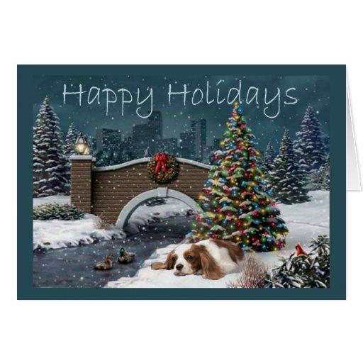 Cavelier King Charles Spaniel Christmas Evening Gr Card