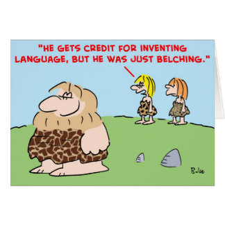caveman belching language card