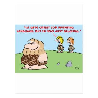 caveman belching language postcard