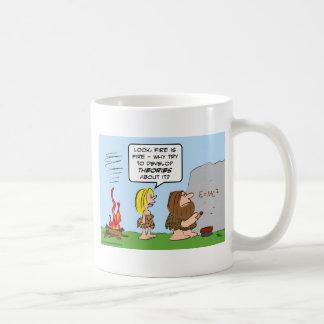 Caveman develops theory of fire. coffee mug