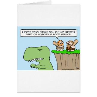 caveman dinosaur food service card