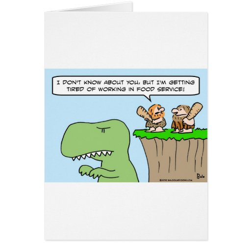 caveman dinosaur food service greeting card