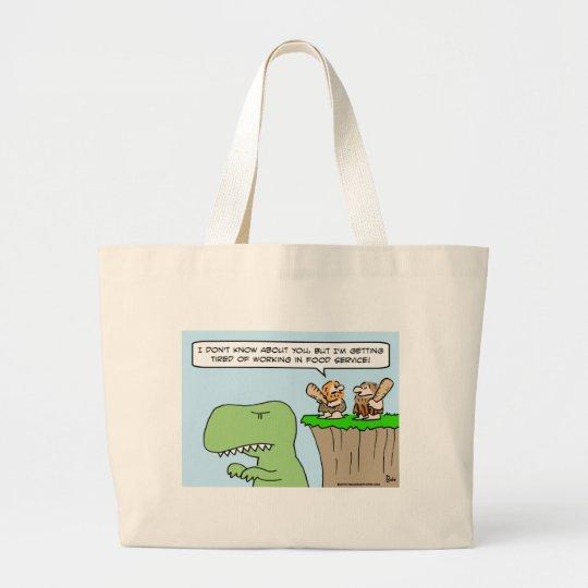 caveman dinosaur food service large tote bag