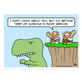 caveman dinosaur food service postcard