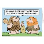 caveman ends meet hunt gather greeting card