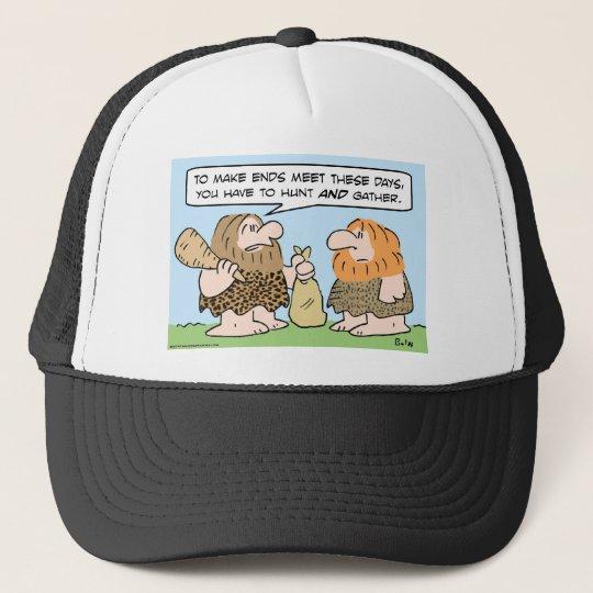 caveman ends meet hunt gather trucker hat