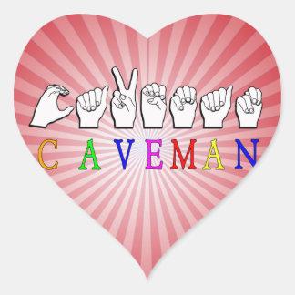 CAVEMAN FINGERSPELLED ASL NAME SIGN HEART STICKER