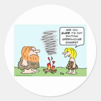 caveman fire greenhouse gases emission classic round sticker