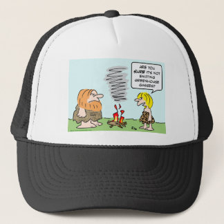 caveman fire greenhouse gases emission trucker hat