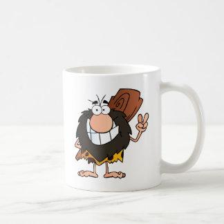 Caveman Gesturing The Peace Sign Mug