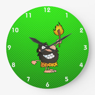 Caveman; Green Large Clock