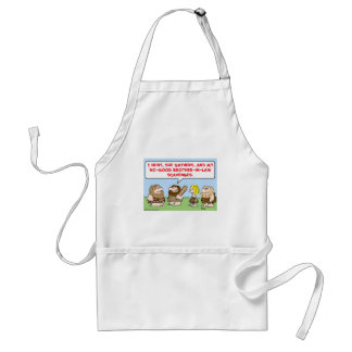 caveman hunt gather scavenge brother in law adult apron