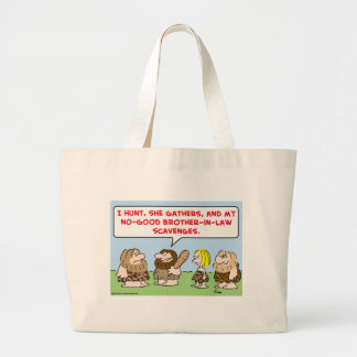caveman hunt gather scavenge brother in law canvas bags