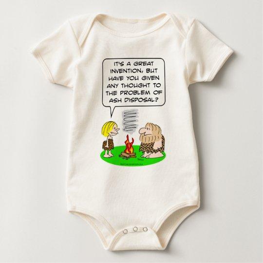 caveman invent fire ash disposal baby bodysuit