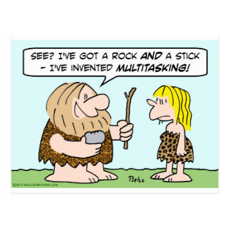 caveman invent multitasking rock stick postcard