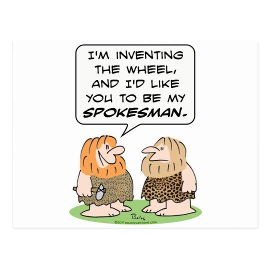 caveman invent wheel spokesman postcard