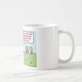 caveman invented fire spontaneous combustion coffee mug