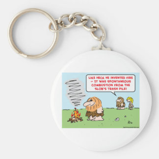 caveman invented fire spontaneous combustion keychain