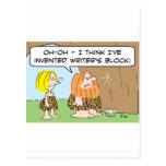 caveman invented writers block postcard