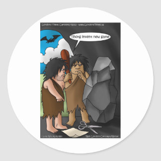 Caveman Invention Funny Gifts Tees Mugs Cards Classic Round Sticker