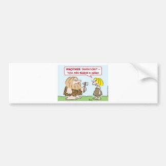 caveman invention geek bumper sticker