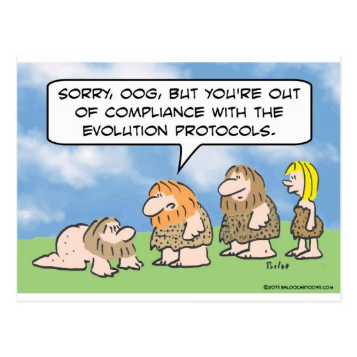 Caveman is out of compliance with evolution. post cards