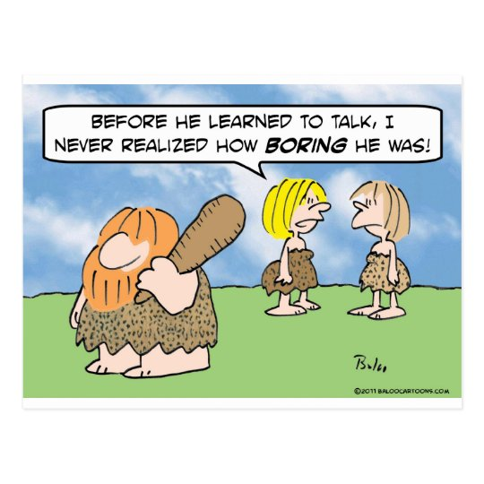 caveman learned talk boring wife woman postcard