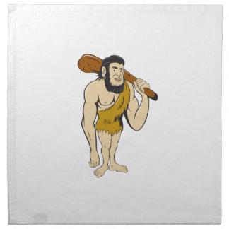 Caveman Neanderthal Man Holding Club Cartoon Printed Napkin