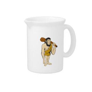 Caveman Neanderthal Man Holding Club Cartoon Pitcher