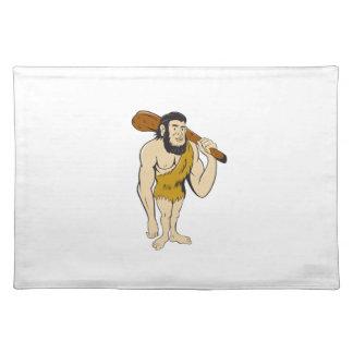 Caveman Neanderthal Man Holding Club Cartoon Cloth Placemat