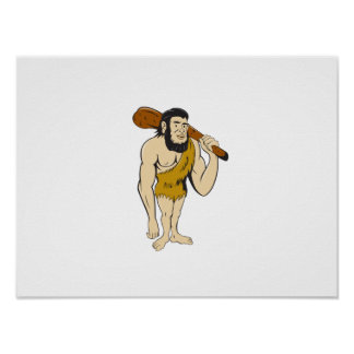 Caveman Neanderthal Man Holding Club Cartoon Poster