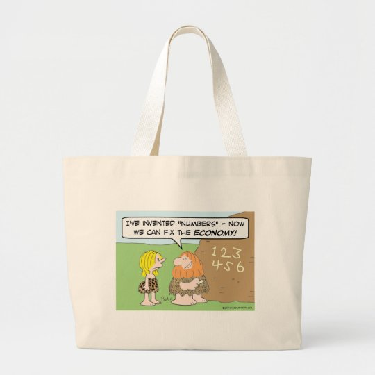 caveman numbers fix economy invented large tote bag