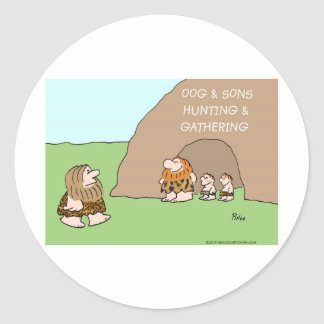 caveman oog and sons hunting gathering classic round sticker
