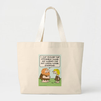 caveman opposable thumb carpal-tunnel syndrome large tote bag
