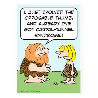 caveman opposable thumb carpal-tunnel syndrome postcard