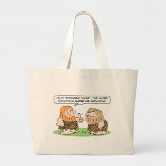 caveman opposable thumb military applications large tote bag