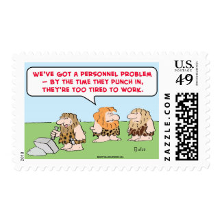 caveman punch in tired work postage