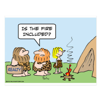 caveman realty fire included postcard